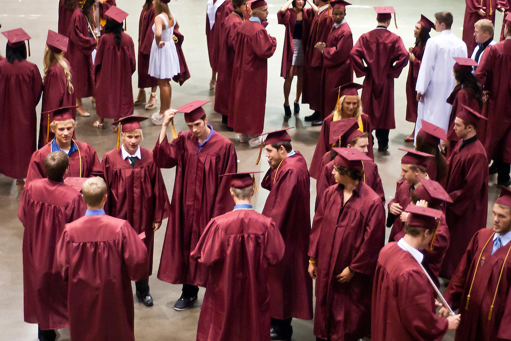 Lathan Goumas | MLive.com..Graduates prepare for the 2012 Davison High School commencement ceremony at the Perani Arena in Flint, Mich. on Monday June 11, 2012.