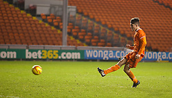 BLACKPOOL, ENGLAND - Wednesday, December 18, 2013: Blackpool's Connor Thurston misses his side's second penalty of the shoot-out against Liverpool during the FA Youth Cup 3rd Round match at Bloomfield Road. (Pic by David Rawcliffe/Propaganda)