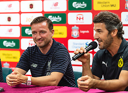 HONG KONG, CHINA - Thursday, June 6, 2019: Borussia Dortmund Legends' Karl-Heinz Riedle (R) and Liverpool FC Legends' Vladimir Smicer (L) during a press conference at the Hong Kong Stadium ahead of an exhibition match between Liverpool FC and Borussia Dortmund. (Pic by Jayne Russell/Propaganda)