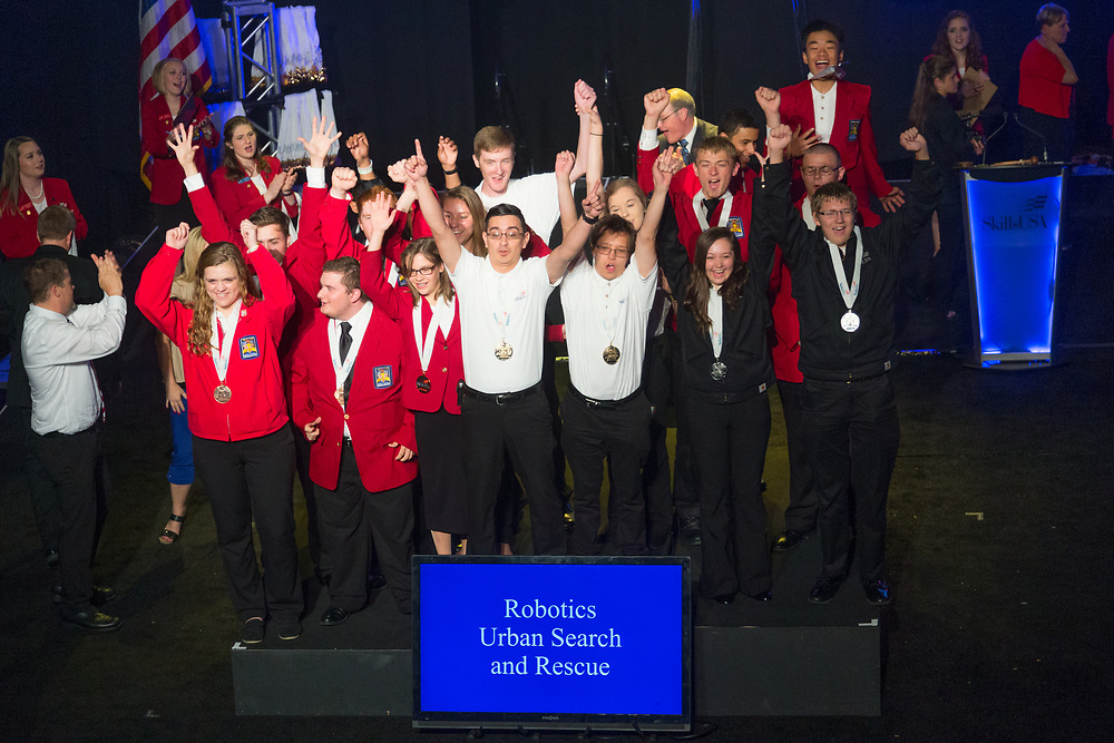 The 2017 SkillsUSA National Leadership and Skills Conference Competition Medalists were announced Friday, June 23, 2017 at Freedom Hall in Louisville. <br /> <br /> Robotics:Urban Search and Rescue<br /> <br /> 	Team B (consisting of Kayln Brandl, Taryn Leverance)<br />   Middle School	 Merrill Middle School<br />   Gold	 Oshkosh, WI<br /> Robotics:Urban Search and Rescue	Team C (consisting of Zakary Nfaoui, Sebastian Lee)<br />   Middle School	 Pickens Technical College<br />   Silver	 Aurora, CO<br /> Robotics:Urban Search and Rescue	Team A (consisting of Andres Guardado, Justin Sumuano)<br />   Middle School	 Olive Vista Middle School<br />   Bronze	 Sylmar, CA<br /> Robotics:Urban Search and Rescue	Team F (consisting of Savannah Bradburn, Landon Davis)<br />   High School	 Heritage High School<br />   Gold	 Maryville, TN<br /> Robotics:Urban Search and Rescue	Team CA (consisting of Douglas Herrin, Torrey Linton)<br />   High School	 Citrus Valley High School<br />   Silver	 Redlands, CA<br /> Robotics:Urban Search and Rescue	Team O (consisting of Rachel Arnold, Jonathan Lynch)<br />   High School	 Blackstone Valley RVTHS<br />   Bronze	 Upton, MA<br /> Robotics:Urban Search and Rescue	Team A (consisting of Ricardo Santos, Michael W. Arreola)<br />   College	 Texas State Tech College-Harlingen<br />   Gold	 Harlingen, TX<br /> Robotics:Urban Search and Rescue	Team B (consisting of Ryan Sturt, Ryan Sullivant)<br />   College	 Pikes Peak Community College-PS<br />   Silver	 Colorado Springs, CO<br /> Robotics:Urban Search and Rescue	Team C (consisting of Tyler Hall, Nicholas Decanter)<br />   College	 Tennessee College of Applied Tech-Whiteville<br />   Bronze	 Whiteville, TN