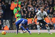 Chelsea striker Pedro skips past Tottenham Hotspur striker Harry Kane during the Barclays Premier League match between Tottenham Hotspur and Chelsea at White Hart Lane, London, England on 29 November 2015. Photo by Alan Franklin.
