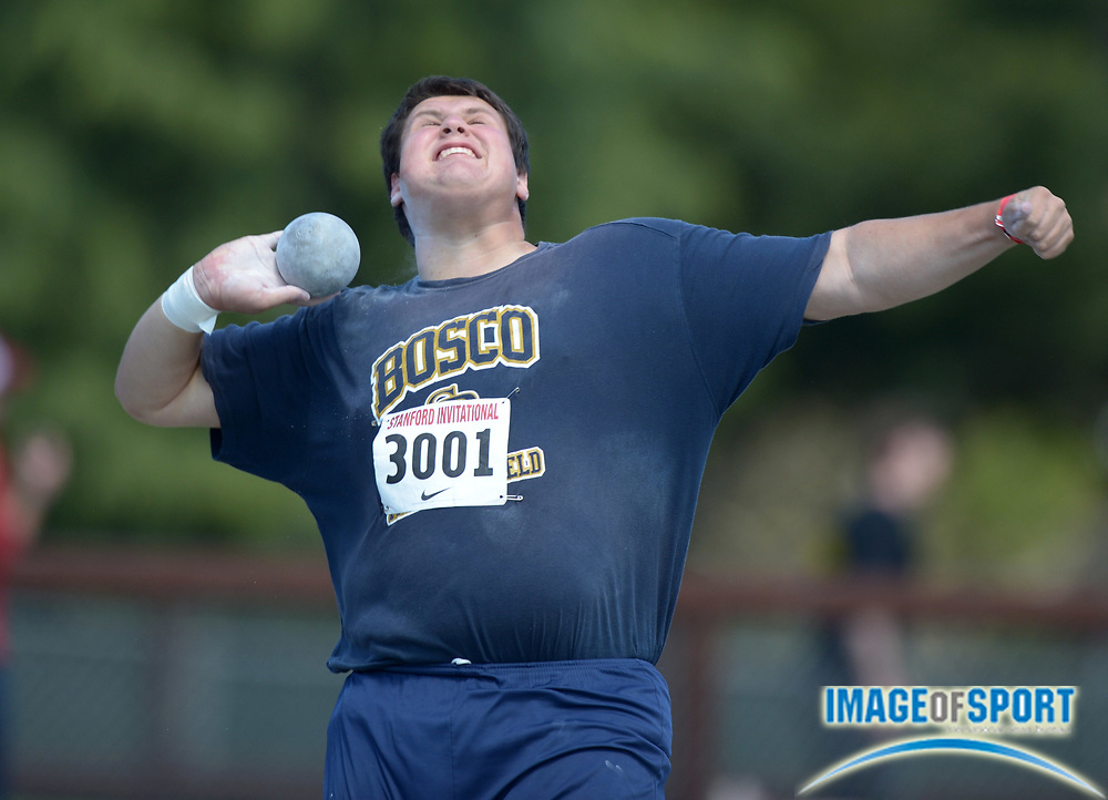 Apr 5, 2014; Stanford, CA, USA; Matt Katnik of St. John Bosco wins the boys shot put  at 60-1 3/4 (18.33m) in the 2014 Stanford Invitational at Cobb Track & Angell  Field.