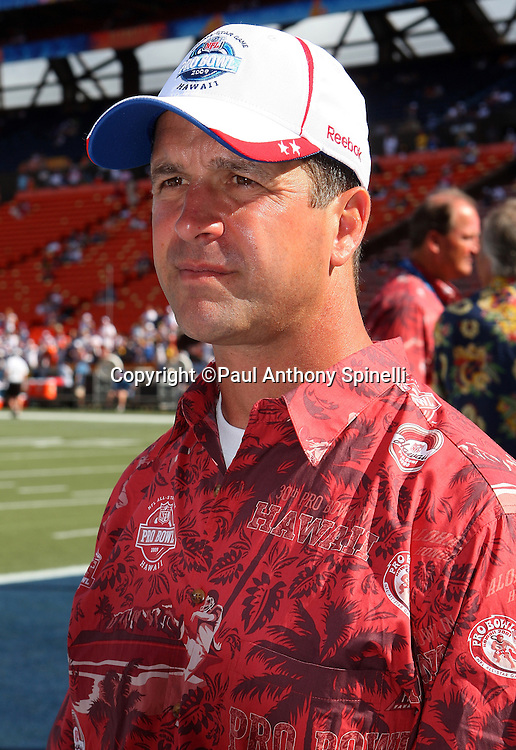 HONOLULU, HI - FEBRUARY 08: AFC All-Stars head coach John Harbaugh of the Baltimore Ravens looks on before the game against the NFC All-Stars in the 2009 NFL Pro Bowl at Aloha Stadium on February 8, 2009 in Honolulu, Hawaii. The NFC defeated the AFC 30-21. ©Paul Anthony Spinelli *** Local Caption *** John Harbaugh