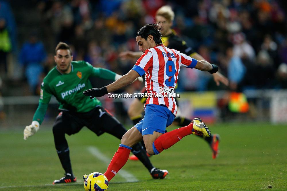 13.01.2013 SPAIN -  La Liga 12/13 Matchday 19th  match played between Atletico de Madrid vs Real Zaragoza (2-0) at Vicente Calderon stadium. The picture show Radamel Falcao Garcia (Colombian striker of At. Madrid)