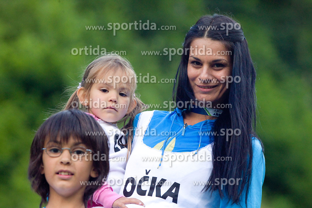 Family of Primoz Peterka - wife Renata Bohinc Peterka and children son Maj, daughter Stella after Ski Jumping Summer Continental Cup in Kranj and last jump of Primoz Peterka's career, one of the best ski jumpers in history, on July 2, 2011, in Kranj, Slovenia. (Photo by Vid Ponikvar / Sportida)