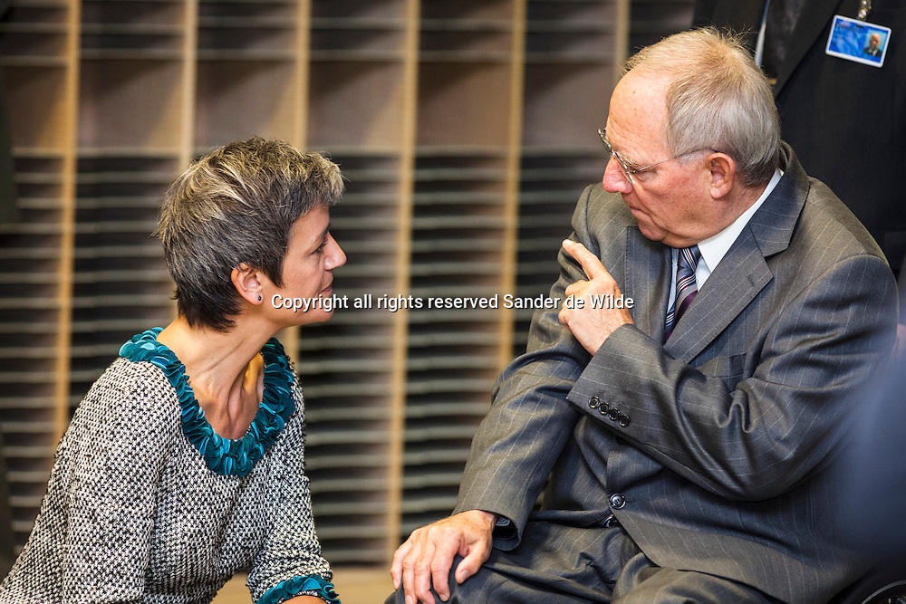 The European Union's Economy and Finance Ministers convene in Brussels on Tuesday, November 13, 2012, to discuss ongoing dossiers aimed at strengthening the economic governance and financial framework of the EU.Danish Finance minister Margrethe Vestager talks to German Finance Minister Wolfgang Schaeuble.
