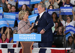 U.S presidential candidate Hillary Clinton and former vice president Al Gore attend a campaign rally together on Tuesday, October 11, 2016 at Miami Dade College Kendall Campus in Miami, FL, USA. Photo by Pedro Portal/Miami Herald/TNS/ABACAPRESS.COM