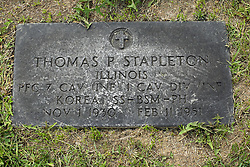 31 August 2017:   Veterans graves in Park Hill Cemetery in eastern McLean County.  Thomas P Stapleton Illinois Private First Class 7 CAV INF 1 CAV DIV INF Korea Silver Star  Bronze Star Medal Purple Heart  Nov 1 1930  Feb 11 1951