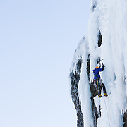 "Róbert Halldórsson on the first ascent of the ice climb "" Stálin stinn"" WI5/M6, 100m, at Tröllhamrar, Breiðdalur. East Iceland."