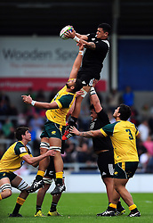 Hapakuki Moala Liava'a of New Zealand U20 wins the ball at a lineout - Mandatory byline: Patrick Khachfe/JMP - 07966 386802 - 25/06/2016 - RUGBY UNION - AJ Bell Stadium - Manchester, England - Australia U20 v New Zealand U20 - World Rugby U20 Championship 2016 5th Place Play-Off.