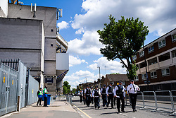 General View outside White Hart Lane as police officers arrive  before the final game at the stadium before it's closure for demolition and redevelopment - Rogan Thomson/JMP - 14/05/2017 - FOOTBALL - White Hart Lane - London, England - Tottenham Hotspur v Manchester United - Premier League.