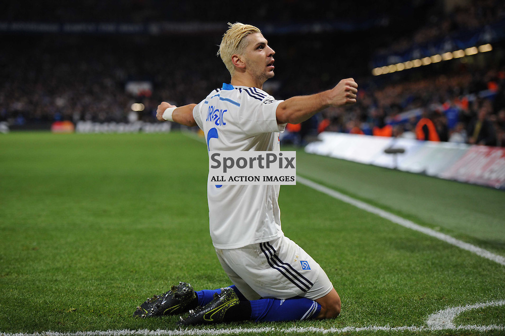 Dynamo Kievs Aleksandar Dragovic celebrates his equaliser to set the scores to 1-1 during the Chelsea v Dynamo Kiev champions league match in the group stage on the 4th November 2015