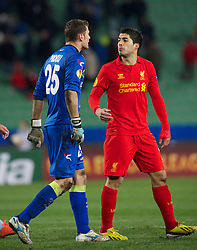 06.12.2012, Stadio Friuli, Udine, ITA, UEFA EL, Udinese Calcio vs FC Liverpool, Gruppe A, im Bild Liverpool's Luis Alberto Suarez Diaz clashes with Udinese Calcio's goalkeeper Daniele Padelli after the first half during during the UEFA Europa League group A match between Udinese Calcio and Liverpool FC at the Stadio Friuli, Udinese, Italy on 2012/12/06. EXPA Pictures © 2012, PhotoCredit: EXPA/ Propagandaphoto/ David Rawcliffe..***** ATTENTION - OUT OF ENG, GBR, UK *****