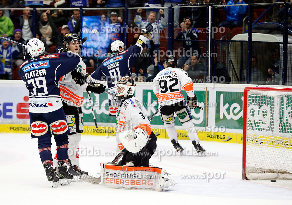 29.01.2016, Stadthalle, Villach, AUT, EBEL, EC VSV vs Moser Medical Graz 99ers, Qualifikationsrunde, im Bild der Jubel zum 1:0 von Miha Verlic (VSV) // during the Erste Bank Icehockey League Qualification round match between EC VSV vs Moser Medical Graz 99ers at the City Hall in Villach, Austria on 2016/01/29, EXPA Pictures © 2016, PhotoCredit: EXPA/ Oskar Hoeher
