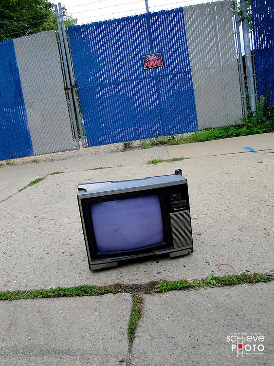 An abandoned TV set.