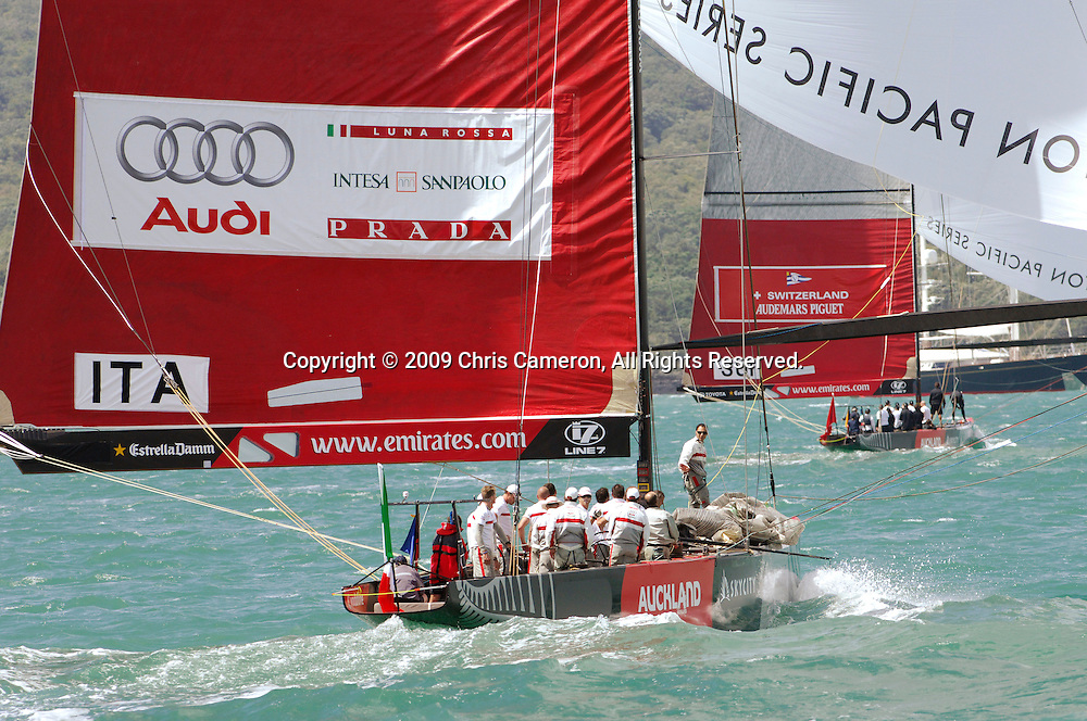 Luna Rossa trails Alinghi to the finish in their Round Robin One match on day two of the Louis Vuitton Pacific Series. 31/1/2009