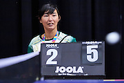 SO Kyrgyz athlete Asel Almazbekova wathes table tennis during third day of the Special Olympics World Games Los Angeles 2015 on July 27, 2015 at South Hall on Los Angeles Convention Centre in Los Angeles, USA.<br /> USA, Los Angeles, July 27, 2015<br /> <br /> Picture also available in RAW (NEF) or TIFF format on special request.<br /> <br /> For editorial use only. Any commercial or promotional use requires permission.<br /> <br /> Adam Nurkiewicz declares that he has no rights to the image of people at the photographs of his authorship.<br /> <br /> Mandatory credit:<br /> Photo by &copy; Adam Nurkiewicz / Mediasport