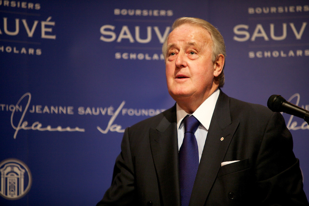 Brian Mulroney, former Prime Minister of Canada and Leader of the Progressive Conservative Party, meets with the 2011-2012 Sauve Scholars at Sauve House in Montreal, Quebec, Canada on September 21st, 2011.