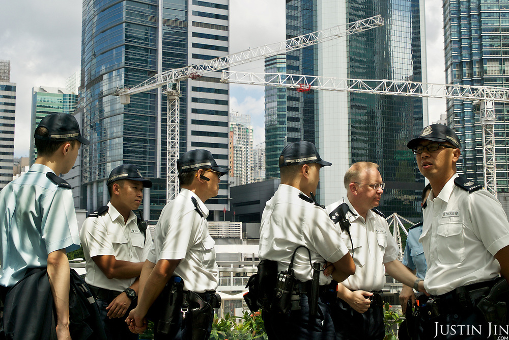 Policemen in Hong Kong.