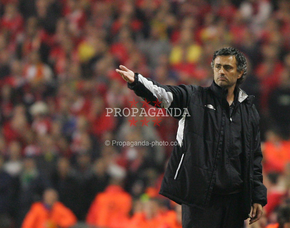 LIVERPOOL, ENGLAND. TUESDAY, MAY 3rd, 2005: Chelsea's manager Jose Mourinho looks dejected after losing 1-0 to Liverpool during the UEFA Champions League Semi Final 2nd Leg at Anfield. (Pic by David Rawcliffe/Propaganda)