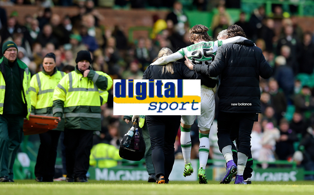 06/03/16 WILLIAM HILL SCOTTISH CUP QUARTER-FINAL<br /> CELTIC v MORTON<br /> CELTIC PARK - GLASGOW<br /> Celtic's Stefan Johansen (25) goes off injured