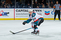 KELOWNA, CANADA - JANUARY 30: Ethan Ernst #19 of the Kelowna Rockets skates against the Seattle Thunderbirds  on January 30, 2019 at Prospera Place in Kelowna, British Columbia, Canada.  (Photo by Marissa Baecker/Shoot the Breeze)