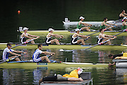 Lucerne, SWITZERLAND.GBR LM4-, Bow, Richard CHAMBERS, James LINDSAY FYNN, Paul MATTICK and James CLARKE, move away from the start in their afternoon semi final, at the  2008 FISA World Cup Regatta, Round 2.  Lake Rotsee, on Saturday, 31/05/2008.  [Mandatory Credit:  Peter Spurrier/Intersport Images].Lucerne International Regatta. Rowing Course, Lake Rottsee, Lucerne, SWITZERLAND.