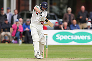 Adam Lyth of Yorkshire place a defensive shot during the Specsavers County Champ Div 1 match between Yorkshire County Cricket Club and Warwickshire County Cricket Club at York Cricket Club, York, United Kingdom on 17 June 2019.