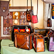 Assorted leatherwork made by Paiwan artisan, Zou, Jin-Hua is displayed in her shop in Sandimen, Pingtung County, Taiwan