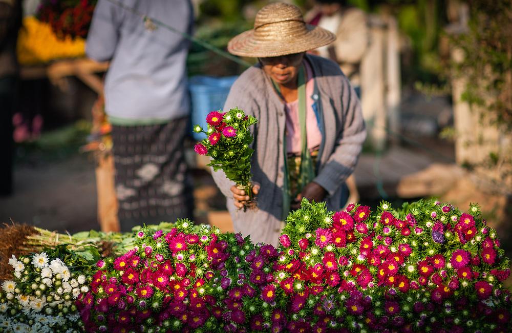 Flower stall at local market in Kalaw (Myamar)