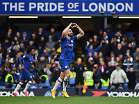 Football - 2019 / 2020 Premier League - Chelsea vs. Everton<br /> <br /> Chelsea's Olivier Giroud celebrates scoring his side's fourth goal, at Stamford Bridge.<br /> <br /> COLORSPORT/ASHLEY WESTERN