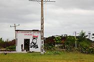 Painting of Fidel Castro in Las Tres Palmas, Pinar del Rio, Cuba.