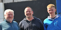 Dave, Rue and Darragh Fabby supporting the Westport Bulls at the junior cup final in Galway<br /> Pic Conor McKeown