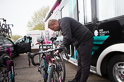 CANYON//SRAM Racing team mechanic Jochen Lamade cleans the tires before the Amstel Gold Race Ladies Edition - a 121.6 km road race, between  Maastricht and Valkenburg on April 16, 2017, in Limburg, Netherlands.