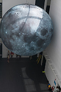 17/07/2018 repro free:  Luke Jerram's Museum of the Moon measuring seven metres in diameter and featuring 120dpi detailed NASA imagery of the lunar surface pictured in the Human Biology Building at NUI Galway as part of Galway International Arts Festival. Museum of the Moon is a new touring artwork by UK artist Luke Jerram who is known worldwide for his large scale public artworks.  The installation is a fusion of lunar imagery, moonlight and surround sound composition created by BAFTA and Ivor Novello award winning composer Dan Jones. GIAF runs from 16 – 29 July www.giaf.ie  .Photo:Andrew Downes, XPOSURE