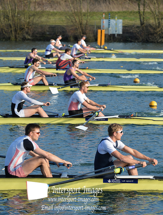 Caversham  Great Britain.<br /> Men's pair semi final, foreground, left Pete REED and Constantine LOULOUDis, who went on to win the race at the <br /> 2016 GBR Rowing Team Olympic Trials GBR Rowing Training Centre, Nr Reading  England.<br /> <br /> Tuesday  22/03/2016 <br /> <br /> [Mandatory Credit; Peter Spurrier/Intersport-images]