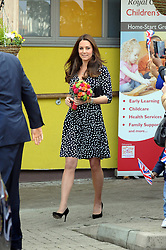 © Licensed to London News Pictures. 18/03/2015<br /> The Duchess leaving after about an hour at the centre.<br /> Duchess of Cambridge visiting Brookhill Childrens Centre in Woolwich this morning (18.03.2015)<br /> (Byline:Grant Falvey/LNP)