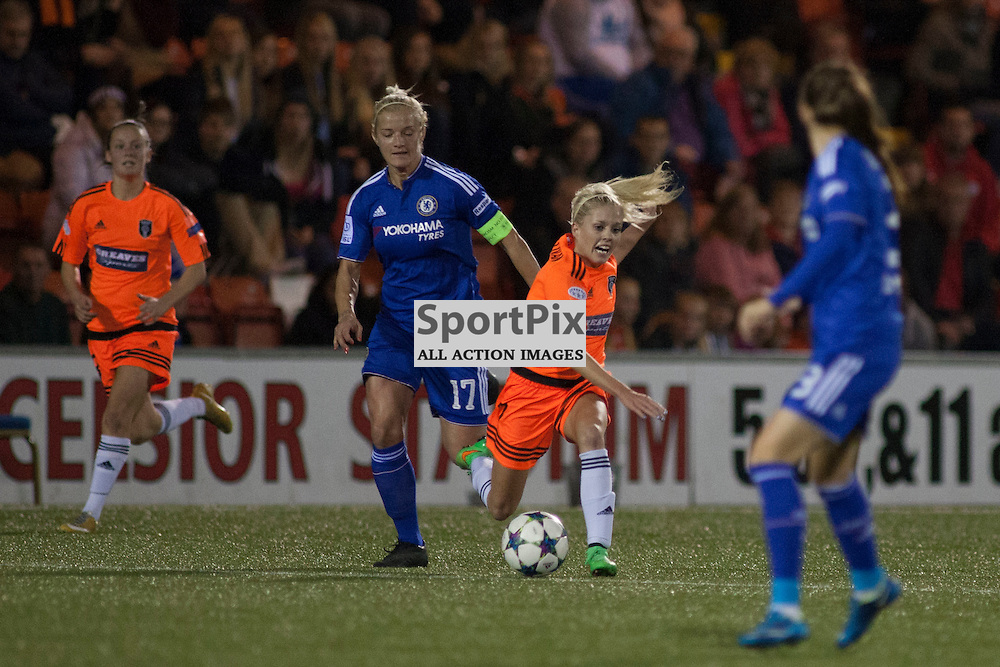 Referee Bibiana Steinhaus showed Chelsea captain Katie Chapman the yellow card for this tackle on Denise O&rsquo;Sullivan  in the Glasgow City v Chelsea LFC Women's Champions League last-32 2nd Leg 14 October 2015<br /><br />(c) Russell G Sneddon / SportPix.org.uk