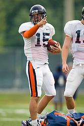 Virginia quarterback Scott Deke (15).  The Virginia Cavaliers football team during an open practice on August 14, 2008 at the University of Virginia's football turf field in Charlottesville, VA.