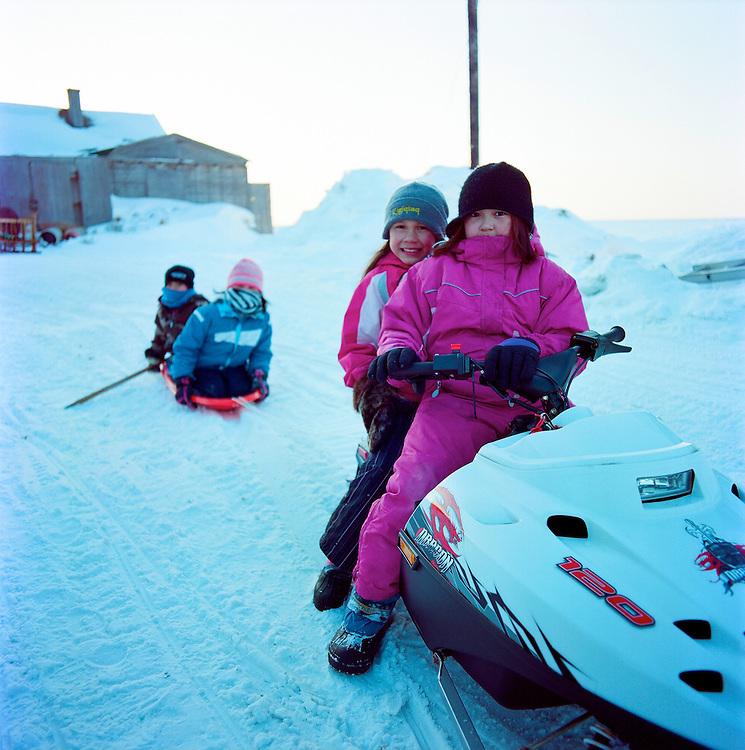 Children in Shishmaref, Alaska in March 2010.