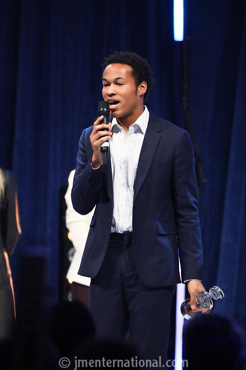 sheku Kanneh-Mason accepts his award during the O2 Silver Clef Awards 2019, Grosvenor House, London, UK, Friday 05 July 2019<br /> Photo JM Enternational