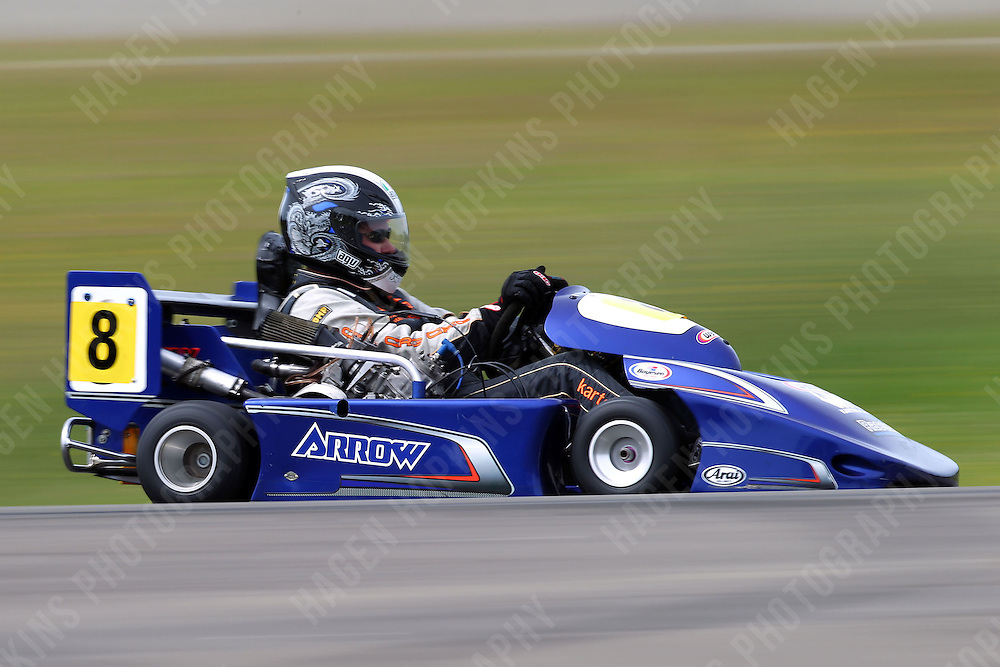 Darryn Waugh, 8, races in the International Superkarts class during the 2012 Superkart National Champs and Grand Prix at Manfeild in Feilding, New Zealand on Saturday, 7 January 2011. Credit: Hagen Hopkins.