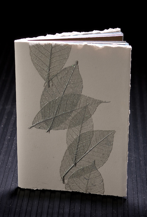 Artist: Mary Thering. Pamphlet binding using a decorated paper with leaves.
