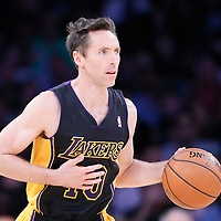 21 March 2014: Los Angeles Lakers guard Steve Nash (10) brings the ball upcourt during the Washington Wizards 117-107 victory over the Los Angeles Lakers at the Staples Center, Los Angeles, California, USA.