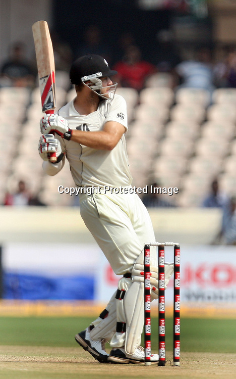 New Zealand Captain Daniel Vettori Hit The Shot During The 2nd Test Match India vs New Zealand Played at Rajiv Gandhi International Stadium, Uppal, Hyderabad 13, November 2010 (5-day match)