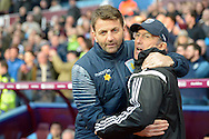 Tim Sherwood, the Aston Villa manager embracing Tony Pulis, the West Bromwich Albion manager before k/o. The FA cup, 6th round match, Aston Villa v West Bromwich Albion at Villa Park in Birmingham, Midlands on Saturday 7th March 2015<br /> pic by John Patrick Fletcher, Andrew Orchard sports photography.