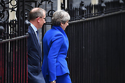 June 9, 2017 - London, London, United Kingdom - Image ©Licensed to i-Images Picture Agency. 09/06/2017. London, United Kingdom. Theresa May statement in Downing Street. The Prime Minister Theresa May make a statement in Downing Street after the 2017 General Election results. Theresa May vowed to fight on today despite suffering catastrophic losses as her election gamble humiliatingly backfired. As the Tories' Commons majority was brutally stripped away by voters. Picture by Andrew Parsons / i-Images (Credit Image: © Andrew Parsons/i-Images via ZUMA Press)