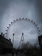 Looking towards the Millennium Wheel and the River Thames in London