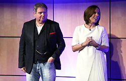 Chairman of Rok Corporation Ltd, Jonathan Kendrick (left) and Williams Formula One deputy team principal Claire Williams during the Williams 2019 livery launch at Williams Conference Centre, Grove.