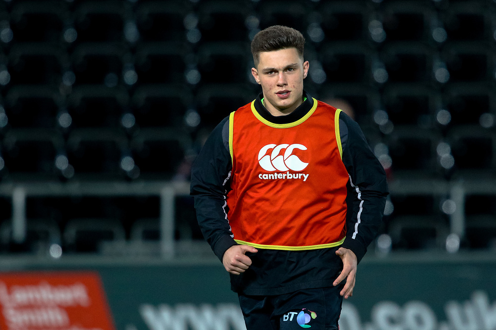 Ospreys' Matthew Aubrey during the pre match warm up<br /> <br /> Photographer Simon King/Replay Images<br /> <br /> Guinness PRO14 Round 19 - Ospreys v Leinster - Saturday 24th March 2018 - Liberty Stadium - Swansea<br /> <br /> World Copyright © Replay Images . All rights reserved. info@replayimages.co.uk - http://replayimages.co.uk